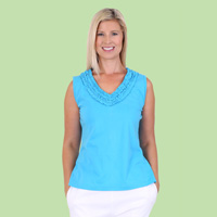Sleeveless Top with Ruffle Neckline